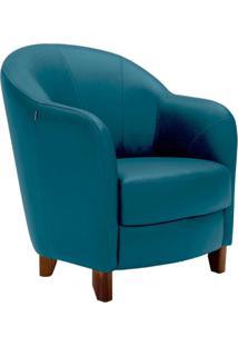 Poltrona Decorativa Sala De Estar Pés Madeira Kairós Couro Azul - Gran Belo