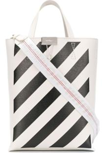 Off-White Bolsa Tote Com Listras Diagonais - Branco