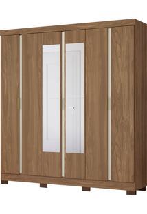 Guarda Roupa De Casal Itapoá 6 Portas C/ Espelhos Canela/Off White Albatroz - Tricae