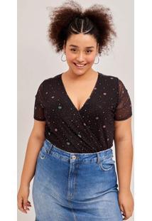 Blusa De Tule Estampado Curve E Plus Size Preto
