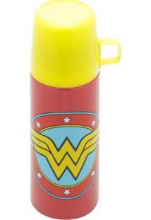 Garrafa Térmica Em Inox Com Tampa Mulher Maravilha Logo Vermelho 350 Ml