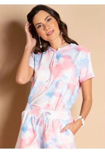 Blusa Com Capuz Tie Dye Azul E Coral