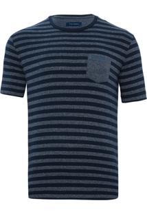 Camiseta Listrada Com Bolso Navy
