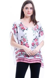 Blusa 101 Resort Wear Poncho Crepe Cetim Estampado Floral Branca E Vermelha