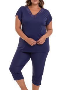 Pijama Capri Liganete Sepie (2470) Marinho - Plus Size