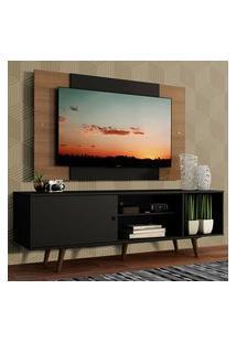Rack Madesa Dubai Com Pés E Painel Para Tv Até 58 Polegadas - Preto/Rustic 8Nc1 Preto