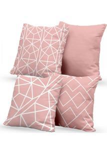 Kit 4 Capas De Almofadas Decorativas Own Rosa Geométrico Branco 45X45 - Somente Capa