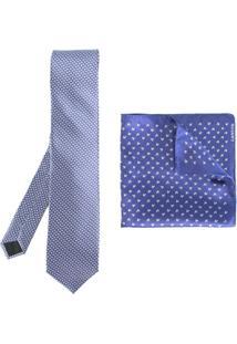 Lanvin Conjunto 2 Peças Com Gravata E Lenço De Bolso - Azul