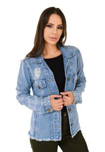 Jaqueta Jeans Aero Jeans Com Rasgos Clara
