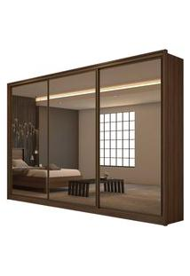 Guarda Roupa Casal C/ Espelho 3 Portas 6 Gavetas Spazio Super Glass Móveis Lopas Marrom