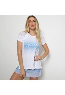 "Camiseta ""Vivameâ®"" Com Tela- Branca & Azul- Vivamedaniela Tombini"