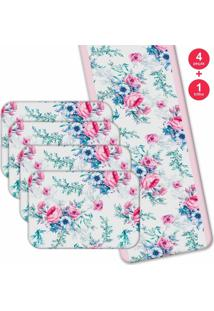 Jogo Americano Love Decor Com Caminho De Mesa Wevans Floral Premium Kit Com 4 Pçs + 1 Trilho