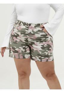 Short Feminino Sarja Camuflado Plus Size Marisa