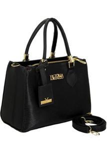 Bolsa Handbag Verniz Croco De Mão Com Zíper Grande Feminina - Feminino-Preto