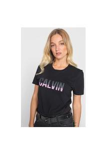 Camiseta Calvin Klein Jeans Logo Stripes Preta