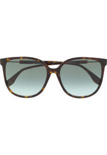 Fendi Eyewear Óculos De Sol Quadrado Com Lentes Em Degradê - Marrom
