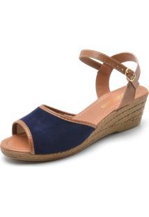 Sandália Dafiti Shoes Camurça Azul-Marinho/Caramelo