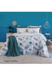 Jogo De Cama Home Design Solteiro- Branco & Azul Escuro