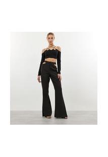 Calça Pantalona Em Crepe Com Detalhe Vazado Na Cintura