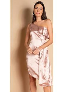 Vestido Curto Nude Decote Assimétrico