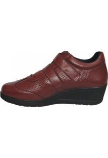 Sapato Anabela Couro Italeoni Velcros Bordo