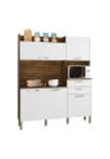 Cozinha Compacta Ravena 5 Portas Savana/White - Kit'S Paraná