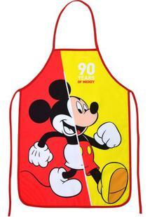 """Avental Mickey® """"90""""- Vermelho & Amarelo- 100X49Cm"""