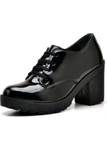 Bota Ankle Boot Top Franca Shoes Preta Verniz