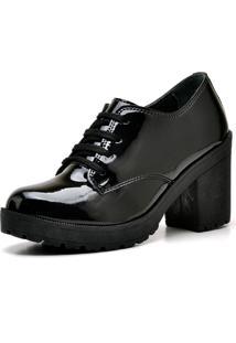 Bota Ankle Boot Top Franca Shoes Preto Verniz