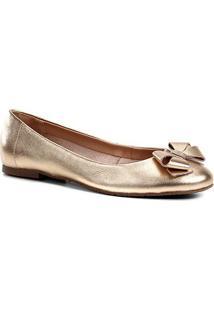 Sapatilha Couro Shoestock Laço Feminina - Feminino-Dourado