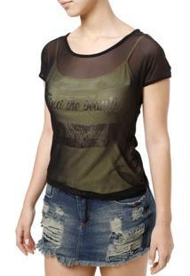 Blusa Regata Feminina Com Sobreposição Preto/Dourado