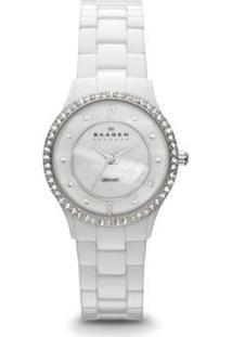 Relógio Skagen Cerâmica Feminino - Feminino-Branco