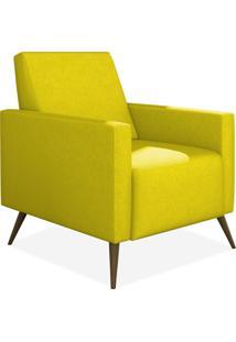 Poltrona Decorativa Para Sala De Estar Pés Palito Liz P02 Suede Amarelo - Lyam Decor