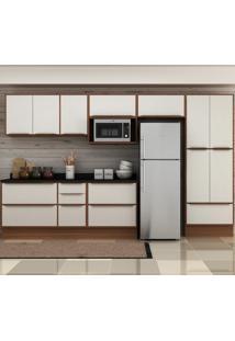Cozinha Compacta 13 Portas 4 Gavetas 5474Tr Nogueira/Branco - Multimóveis