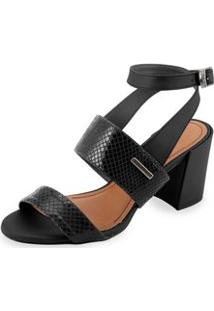 Sandalia Salto Bloco Com Estampa Piton Preto