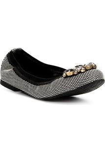 Sapatilha Shoestock Bico Redondo Quadriculada Pedraria Feminina - Feminino