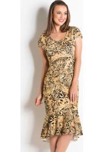 73e9325b50 Vestido Peplum Onça Moda Evangélica