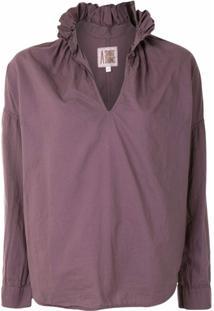 A Shirt Thing Blusa De Algodão Com Babados Na Gola - Roxo
