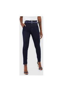 Calça Cropped Jeans Morena Rosa Skinny Isadora Azul-Marinho