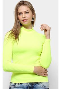 Blusa Aura Gola Alta Neon Feminina - Feminino-Amarelo