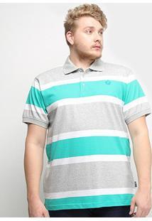 Camisa Polo Listrada Gajang Euro Finland Plus Size Masculina - Masculino-Cinza+Verde