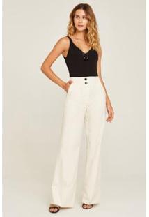 Calça Rubinella Pantalona Riscas De Giz Feminina - Feminino-Off White