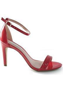Sandália Salto Fino Lia Line - Feminino-Vermelho