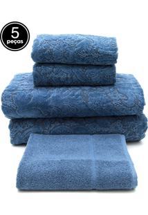 Jogo De Banho 5 Pçs Buddemeyer Gigante Collona Azul 100X150 - Tricae