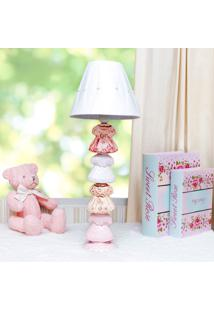 Abajur Ceramica Vestido Rosa E Branco