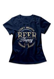 Camiseta Feminina Beer Happy Azul Marinho