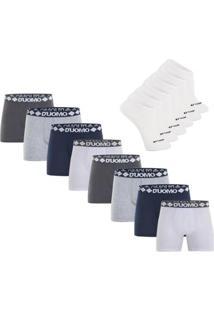 Kit Cueca Boxer Cotton Sem Costura 8 Peças Com 3 Pares De Meia Invisível - Duomo - Masculino