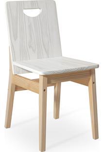 Cadeira De Madeira Moderna Para Mesa De Jantar Tucupi 40X51X81Cm - Acabamento Stain Natural E Branco