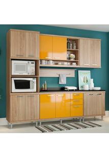 Cozinha Compacta Com Tampo 12 Portas 5815 Argila/Amarelo - Multimóveis