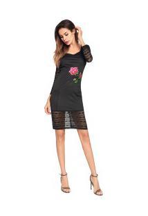 Vestido Curto Bainha Em Renda Com Design De Rosa - Preto